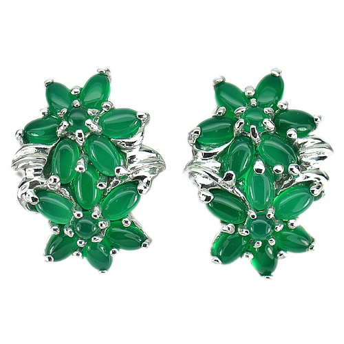 Natural Green Aventurine Real 925 Sterling Silver White Gold Plated Earrrings