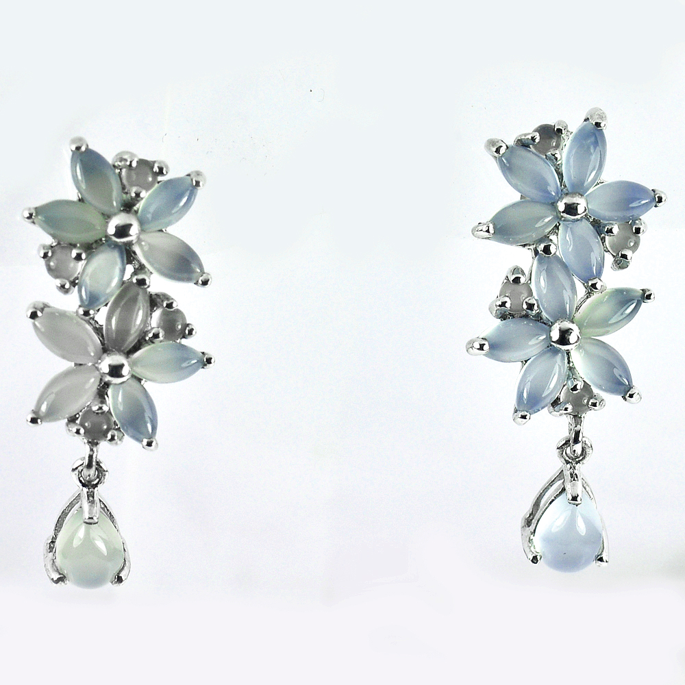 Natural Blue Aventurine Real 925 Sterling Silver White Gold Plated Earrrings