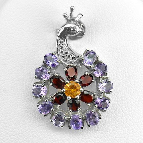 3.78 G.Natural Amethyst Garnet Citrine Real 925 Sterling Silver Charming Pendant