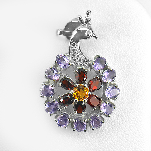 3.71 G. Natural Gem Amethyst Garnet Citrine Real 925 Sterling Silver Pendant