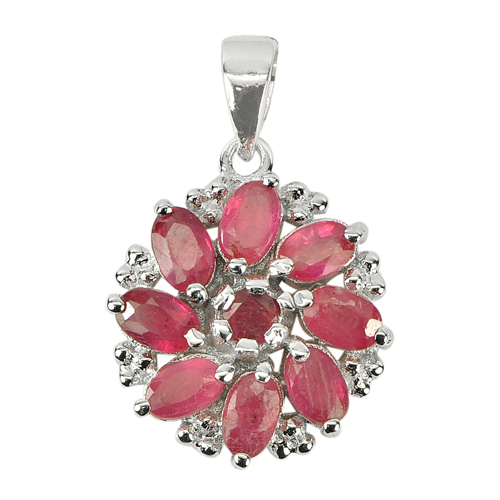2.87 G. Natural Gemstones Red Ruby Real 925 Sterling Silver Pendant