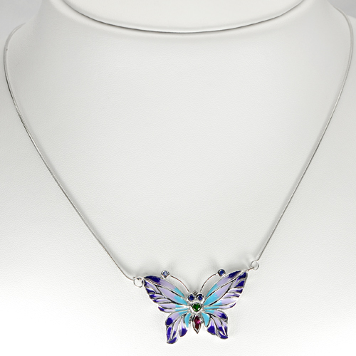 10.37 G. Natural Garnet Butterfly Enamel 925 Sterling Silver Necklace 19 Inch.