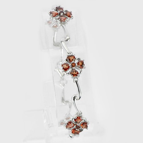 Natural Garnet Real 925 Sterling Silver White Gold Plated Bracelet 7.5 Inch.