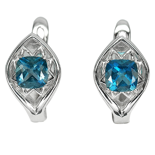Beautiful Natural London Blue Topaz Real 925 Sterling Silver Jewelry Earrings