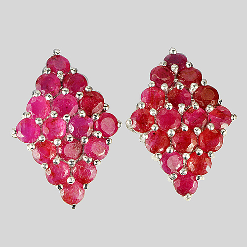 8.38 G. Natural Ruby Gems Real 925 Sterling Silver White Gold Plated Earrings