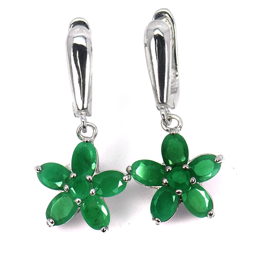 6.92 G. Oval Shape Natural Gems Green Emerald Real 925 Sterling Silver Earrings