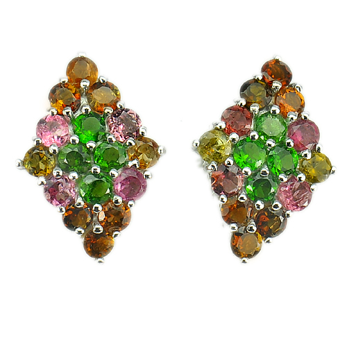 8.17 G. Natural Tourmaline Real 925 Sterling Silver White Gold Plated Earrings