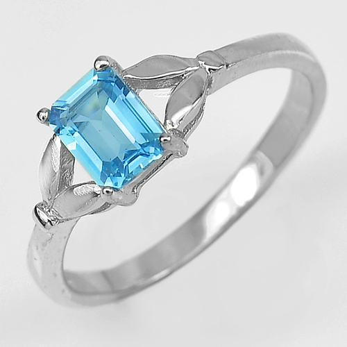 2.58 G. Natural Topaz Gem Real 925 Sterling Silver White Gold Plated Ring Size 9