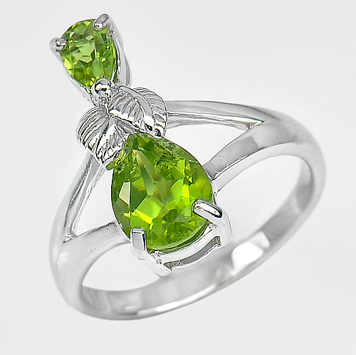 4.82 G. Natural Green Peridot Gemstone Real 925 Sterling Silver Ring Size 8