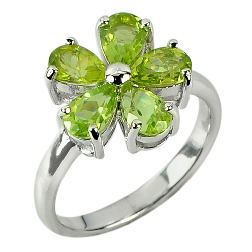 3.23 G. Natural Gemstone Green Peridot Real 925 Sterling Silver Ring Size 6