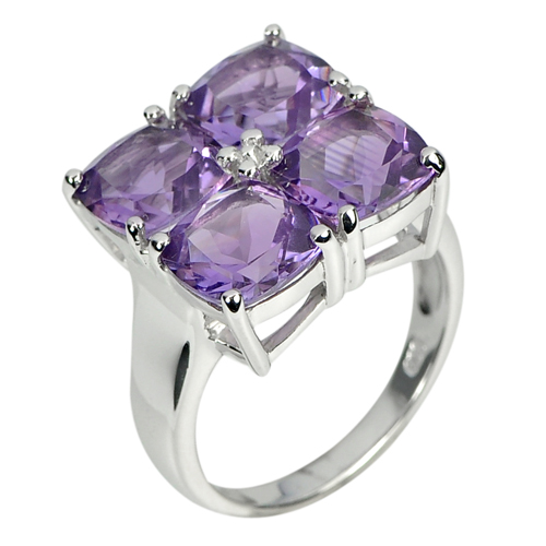7.64 G. Natural Gemstone Purple Amethyst Real 925 Sterling Silver Ring Size 8