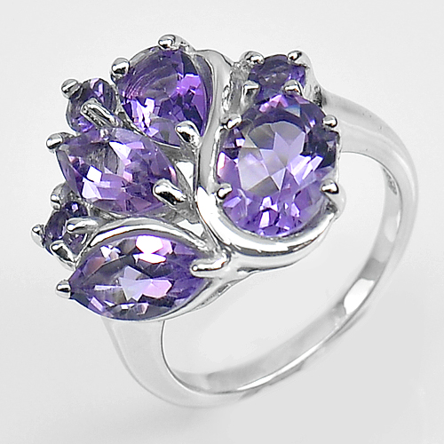 6.70 G. Natural Gemstone Purple Amethyst Real 925 Sterling Silver Ring Size 7