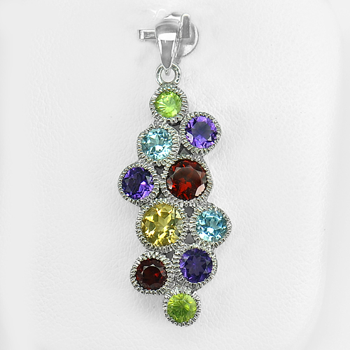 4.02 G. Real 925 Sterling Silver Pendant Natural Citrine Amethyst Topaz Peridot