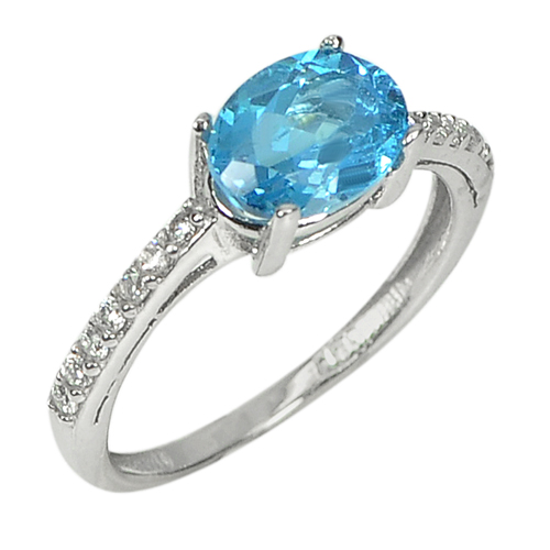 1.64 G. Natural Gem Swiss Blue Topaz Real 925 Sterling Silver Ring Size 5.5