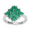 Natural Gems Aventurine Real 925 Sterling Silver White Gold Plated Ring Size 7