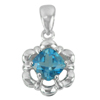 1.94 G. Natural London Blue Topaz Real 925 Sterling Silver Jewelry Pendant