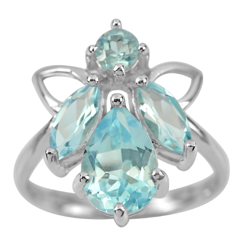 3.79 G. Natural Swiss Blue Topaz Gem Real 925 Sterling Silver Fine Ring Size 7