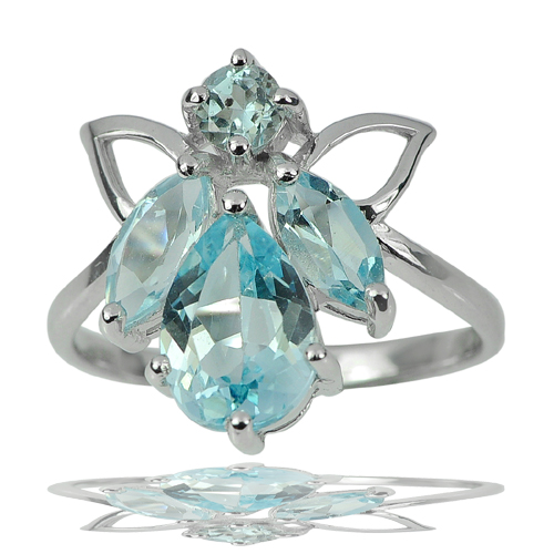 3.79 G. Good Natural Gemstone Blue Topaz Real 925 Sterling Silver Ring Size 7