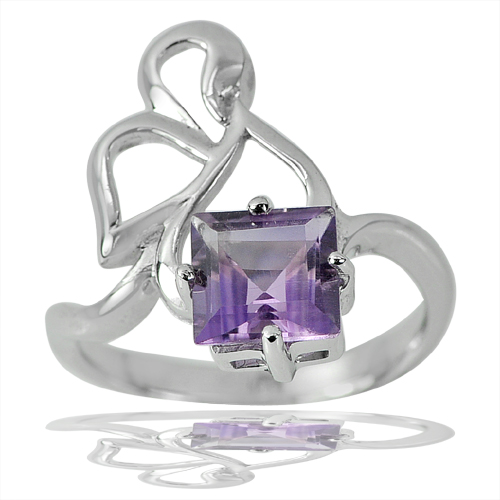 3.74 G. Square Natural Gem Purple Amethyst Real 925 Sterling Silver Ring Size 8