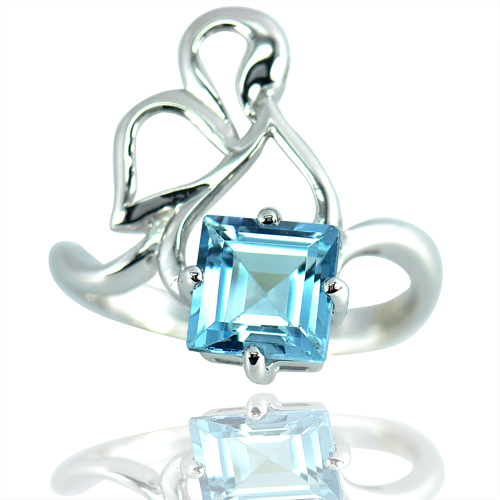 3.72 Gram. Natural Baby Blue Topaz Real 925 Sterling Silver Jewelry Ring Size 7