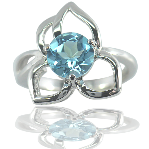 4.50 G. Natural Gemstone Baby Blue Topaz Real 925 Sterling Silver Ring Size 6