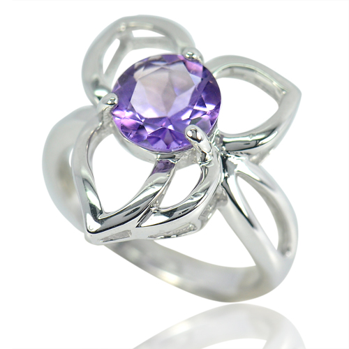 4.37 G. Round Natural Clean Purple Amethyst Real 925 Sterling Silver Ring Size 6