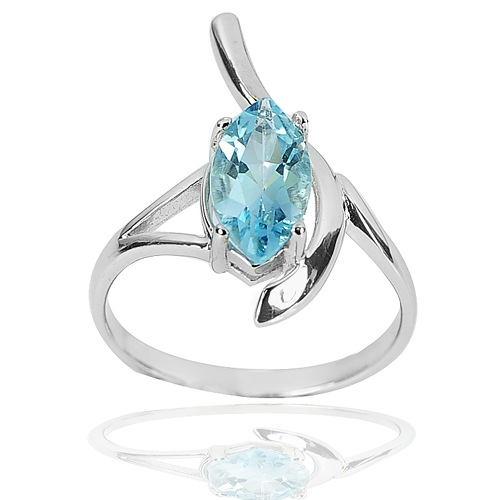 2.66 G. Real 925 Sterling Silver Ring Size 8 Lovely Natural Gem Baby Blue Topaz