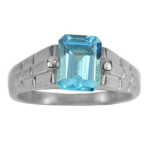 4.49 G. Natural Swiss Blue Topaz Real 925 Sterling Silver Oxidize Ring Size 8