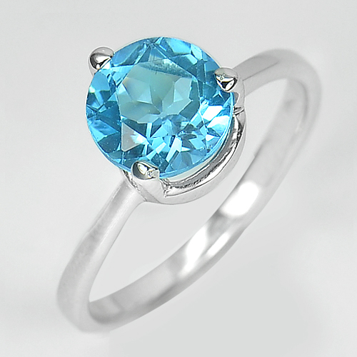 2.35 G. Natural Gem Swiss Blue Topaz Real 925 Sterling Silver Ring Size 7