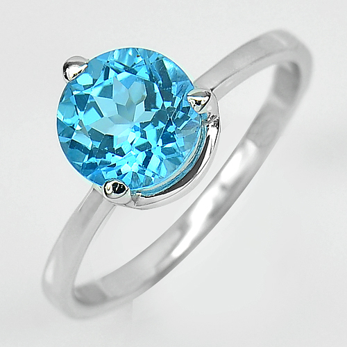 2.48 G. Round Natural Swiss Blue Topaz Real 925 Sterling Silver Ring Size 8
