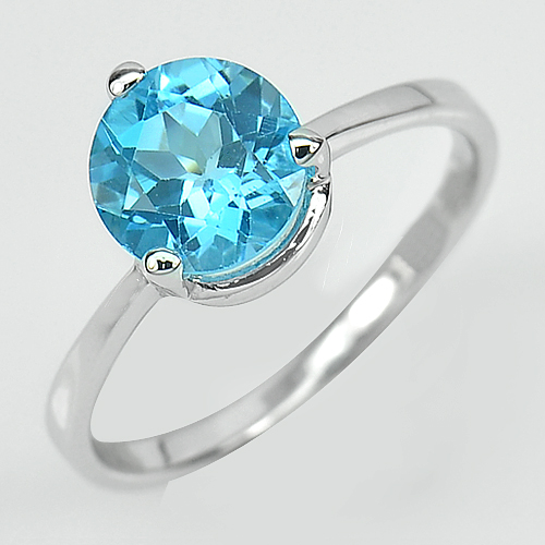 2.33 G. Natural Gem Swiss Blue Topaz Real 925 Sterling Silver Ring Size 8