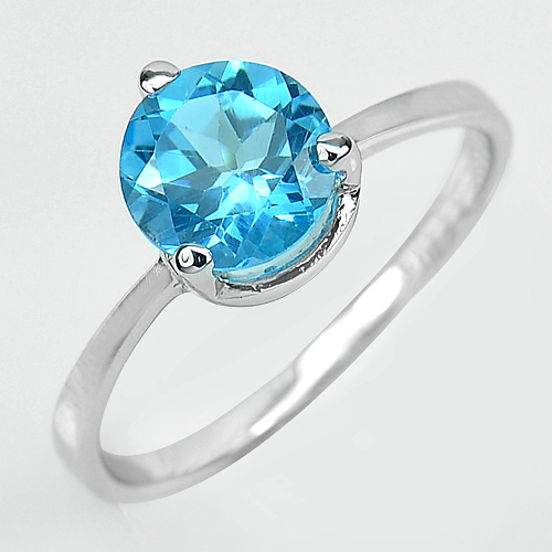 2.34 G. Natural Gemstone Swiss Blue Topaz Real 925 Sterling Silver Ring Size 9