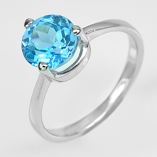 2.51 Gram. Natural Round Shape Blue Topaz Real 925 Sterling Silver Ring Size 7