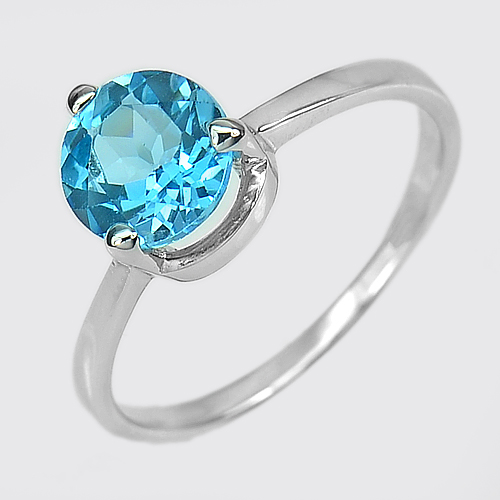 2.56 G. Natural Gem Swiss Blue Topaz Real 925 Sterling Silver Ring Size 9