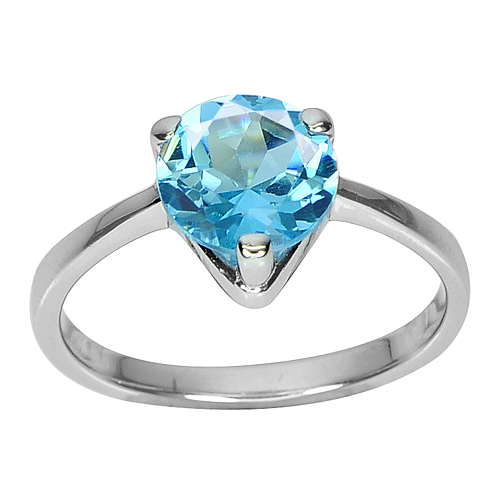 2.41 G. Gemstone Natural Round Swiss Blue Topaz 925 Sterling Silver Ring Size 7