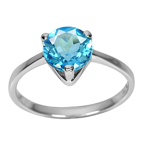 2.33 G. Good Natural Swiss Blue Topaz Real 925 Sterling Silver Ring Size 8
