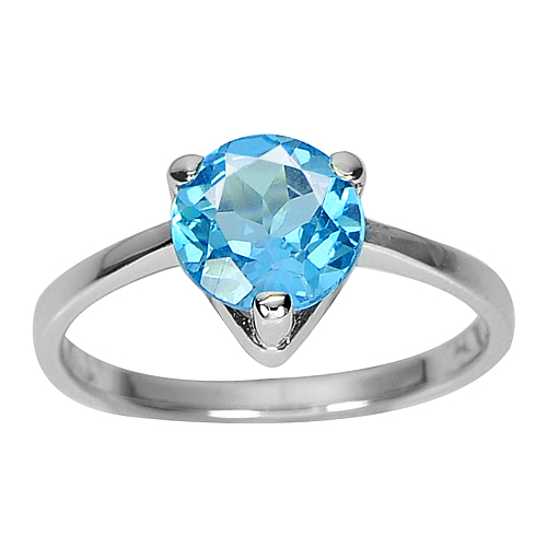 2.49 G. Round 8 mm.Natural Swiss Blue Topaz Real 925 Sterling Silver Ring Size 8