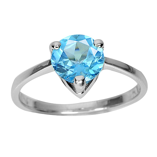 2.33 G. Round Natural Gem Swiss Blue Topaz 925 Sterling Silver Ring Size 8