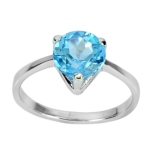2.39 G. Natural Gem Round Swiss Blue Topaz Real 925 Sterling Silver Ring Size 7