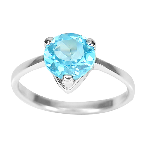 2.48 G. Round Natural Gemstone Blue Topaz Real 925 Sterling Silver Ring Size 8