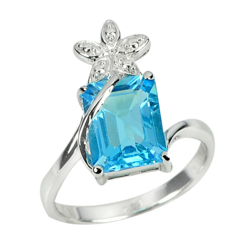 3.82 G.  Octagon Natural Swiss Blue Topaz Real 925 Sterling Silver Ring Size 7