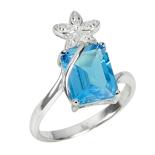 3.85 G. Natural Gem Octagon Swiss Blue Topaz 925 Sterling Silver Ring Size 7
