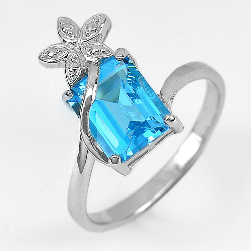 4.00 G.Natural Octagon Swiss Blue Topaz Real 925 Sterling Silver Ring Size 9