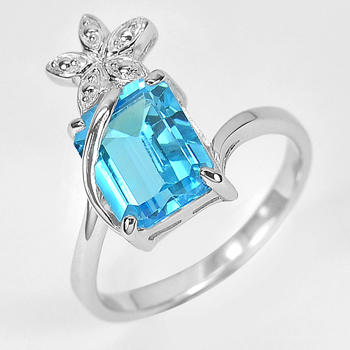 3.77 G. Natural Swiss Blue Topaz Real 925 Sterling Silver Jewelry Ring Size 8