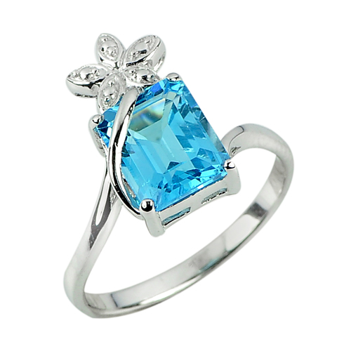 3.98 G. Natural Blue Topaz Gem Real 925 Sterling Silver Beautiful Ring Size 9