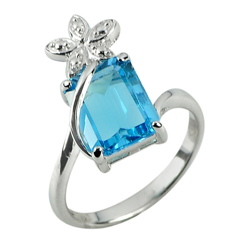 3.73 G. Natural Topaz Real 925 Sterling Silver White Gold Plated Ring Size 7