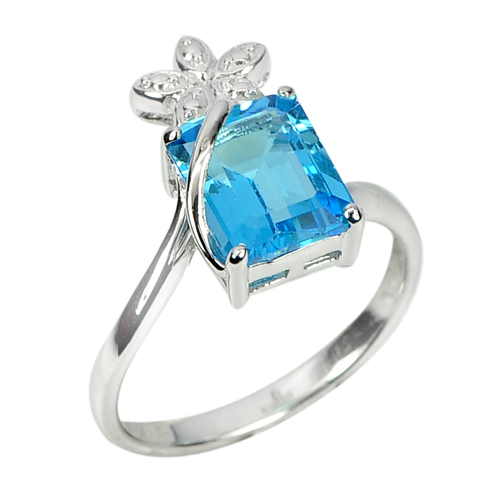 4.09 G. Octagon Natural Gem Swiss Blue Topaz 925 Sterling Silver Ring Size 9.5