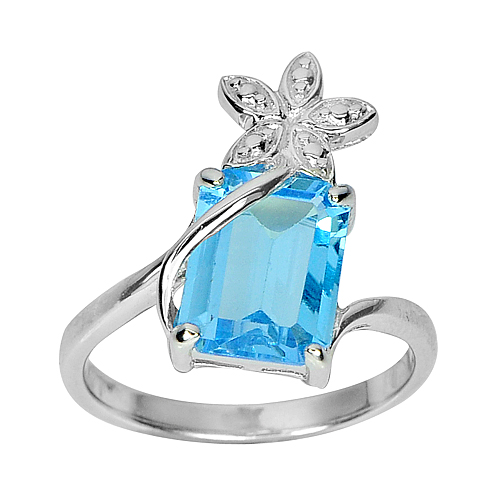 3.63 G. Natural Swiss Blue Topaz Real 925 Sterling Silver Jewelry Ring Size 7