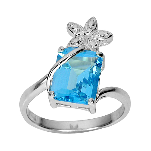 3.84 G. Beautiful Natural Swiss Blue Topaz Real 925 Sterling Silver Ring Size 7