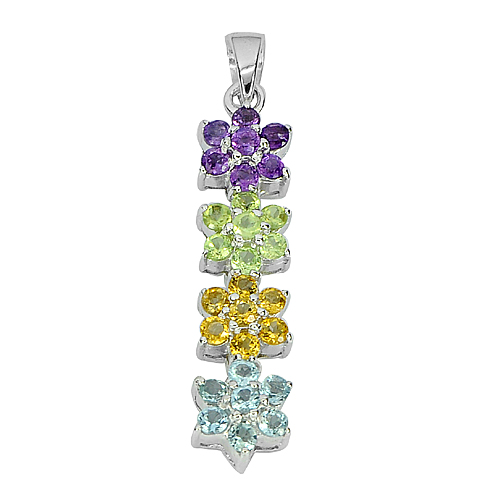 3.97 G. Natural Gems Amethyst Peridot Sapphire Topaz 925 Sterling Silver Pendant